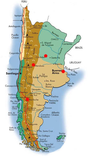 Spanish Language Schools And Language Immersion In Argentina - Argentina map in spanish